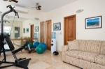 Attached to the Tennis Tiki Hut, you will find your private fitness facility, complete with mirrored wall, Bowflex Home Gym and a variety of balls, bands and mats for your daily workout. A pullout sofa bed, flatscreen TV and full bath, with stall shower, complete the space.